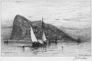 ROCK OF GIBRALTAR. Etching by Robert Swain Gifford, 1885