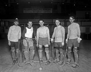 ROLLER HOCKEY, 1926. Men of the Arcade Roller Hockey Club. Photograph, 15 January 1926