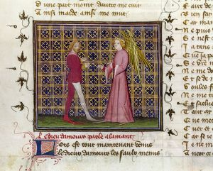 ROMANCE OF THE ROSE. 'Love Speaks to the Lover.' Manuscript illumination