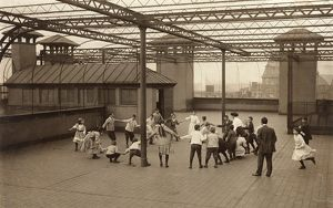 ROOF GARDEN RECESS, 1909. Immigrant children learning to play games on the roof