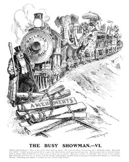 presidents/roosevelt cartoon 1906 the busy showman iv
