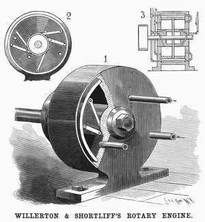 ROTARY ENGINE, 1898. Willerton and Shortliff's improved rotary engine. Engraving