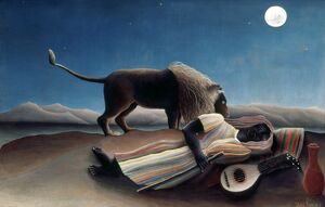 ROUSSEAU: GYPSY, 1897. 'The Sleeping Gypsy.' Oil on canvas by Henri Rousseau, 1897.