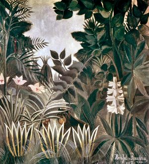 ROUSSEAU: JUNGLE, 1909. The Equatorial Jungle. Canvas by Henri Rousseau, 1909.