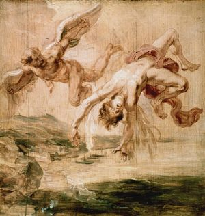 RUBENS:FALL OF ICARUS 1637. Peter Paul Rubens: The Fall of Icarus. Oil sketch on wood