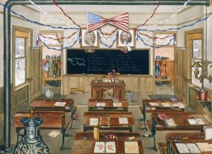 RURAL SCHOOL ROOM, c1900. Interior view of a rural school room. Painting, c1940