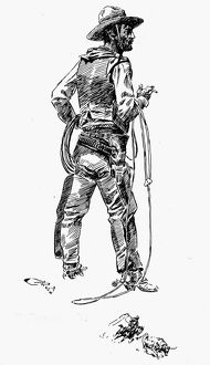 anthropology/russell cowboy drawing charles m russell