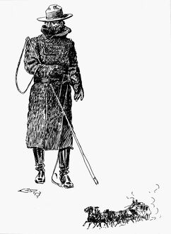 RUSSELL: COWBOY. 'Stage Driver.' Drawing by Charles M. Russell (1864-1926)