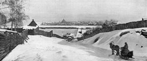 RUSSIA: IRKUTSK, c1897. A panoramic view of Irkutsk, Russia, from the south bank