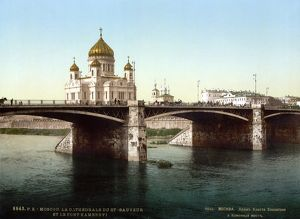 RUSSIA: MOSCOW, c1895. The Cathedral of Christ the Savior and the Bolshoy Kamenny Bridge, Moscow
