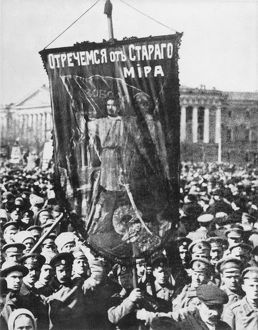 RUSSIA: REVOLUTION OF 1917. A 1917 May Day parade in Petrograd's Palace Square
