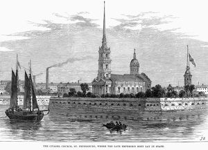 RUSSIA: ST. PETERSBURG, 1866. Peter and Paul Cathedral in St. Petersburg. Wood engraving
