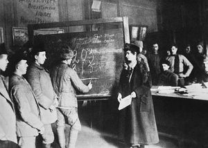 RUSSIA: STUDENTS, 1917. Workers studying at a Center for Liquidating Illiteracy sometime