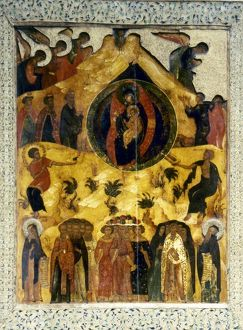 RUSSIAN ICON. Icon of The Synaxis or Assembly, of the Virgin. Moscow School, Russia
