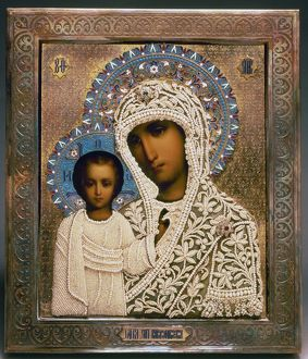 RUSSIAN ICON: MARY. Our Lady of Kazan. Russian icon. Tempera on panel with fabric