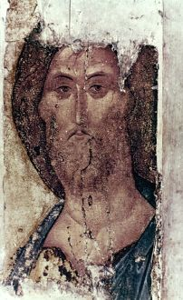 RUSSIAN ICONS: THE SAVIOUR. By Andrei Rublev, c1400.