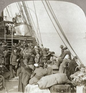 RUSSIAN PILGRIMS, c1903. Russian pilgrims to Jerusalem, on board a ship in Beirut harbor