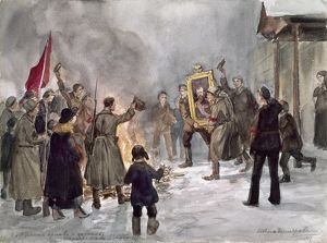 RUSSIAN REVOLUTION, 1917. An angry crowd carrying a portrait of Czar Nicholas II