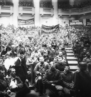 RUSSIAN REVOLUTION, 1917. Meeting of the soldiers' section of the Petrograd Soviet