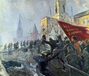 RUSSIAN REVOLUTION, 1917. Revolutionary soldiers storming down a street in Moscow