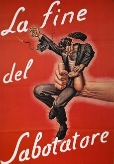 'The Saboteur's Fate.' Italian World War II poster, 1944.