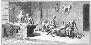 SADDLER, 18th CENTURY. Interior of a saddler shop. Line engraving, French, 18th century