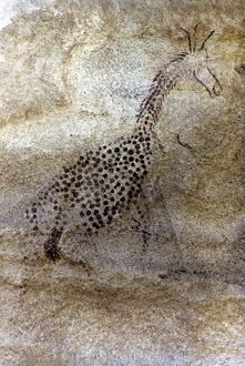 SAHARAN ROCK PAINTING. Giraffe. Rock painting from Tassili-des-Ajjer, Algeria.