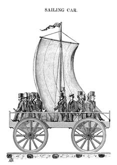 SAILING CAR, 1830. A wind-powered locomotive on the South Carolina Railroad, 19 March 1830