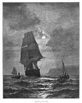 SAILING SHIP, 1880. 'Moonlight on the Water