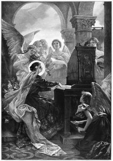 SAINT CECILIA (d.230). Christian martyr and patron saint of music. Engraving, 1898