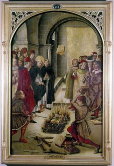 SAINT DOMINIC. /nSaint Dominic of Guzman, throwing heretical books into a fire