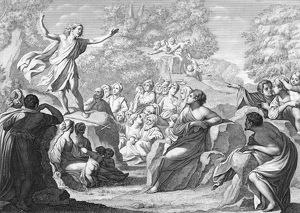 SAINT JOHN THE BAPTIST. John the Baptist preaching in the wilderness. Line engraving