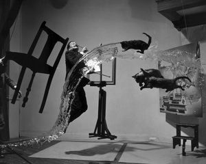 SALVADOR DALI (1904-1989). Spanish painter. Photographed with objects, including cats and water caught in surreal motion. Photographed by Philippe Halsman, c1948.