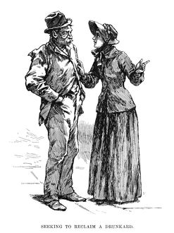 SALVATION ARMY, 1891. A woman of the Salvation Army speaking with a drunkard