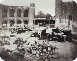 SAMARKAND: BAZAAR, c1875. Vendors at a bazaar in Samarkand. Photograph, c1875