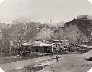 SAMARKAND, c1870. Adobe buildings on the banks of Zeravshan River. Photograph, c1870