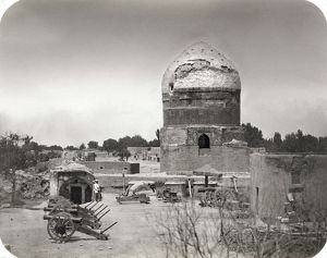 SAMARKAND, c1870. A Russian soldier stands guard at the Mausoleum of Sheikh Nurdin
