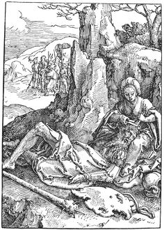 SAMSON AND DELILAH. Woodcut by Lucas van Leyden (1494-1533)