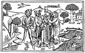 SAMUEL ANOINTING SAUL (I Samuel 10:1). Woodcut from the Cologne Bible, 1478-80