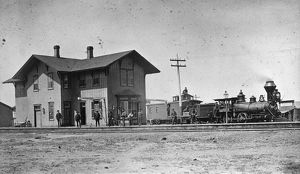 SANTA FE RAILWAY, 1883. The Santa Fe Railway depot in Rincon, New Mexico. Photograph