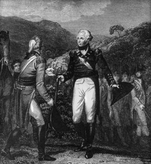 SARATOGA: SURRENDER, 1777. The surrender of British General John Burgoyne (left)