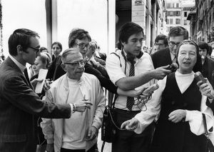 SARTRE & BEAUVOIR, 1970. Jean-Paul Sartre and Simone de Beauvoir speaking to reporters in Paris after their release from a police station, where they were detained for having distributed 'La cause du Peuple' (The People's Cause), a banned leftist publication, 26 June 1970.