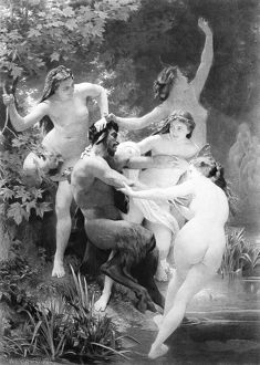 SATYR & NYMPHS. Photogravure after an oil painting, 1873, by William-Adolphe Bouguereau
