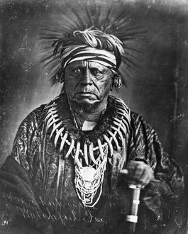 Sauk Native American chief. Daguerreotype, 1847, by Thomas M. Easterly.