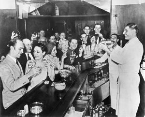 A scene at a bar in Greenwich Village, after the repeal of Prohibition, 1933.