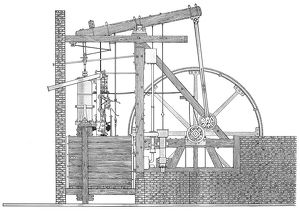 Schematic view of James Watt's (1736-1819), rotative beam steam engine of 1788.