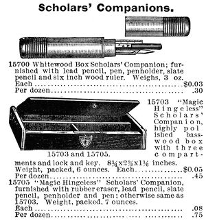 SCHOOL ACCESSORIES, 1895. American catalogue advertisement for 'Scholars&#39