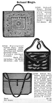 SCHOOL BAGS, 1895. American catalogue advertisement, 1895
