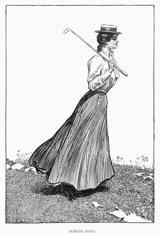 'School Days.' A golf-playing Gibson girl