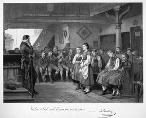 SCHOOL EXAMINATION, 1881. Mezzotint, 1881, after the Swiss Artist Benjamin Vautier